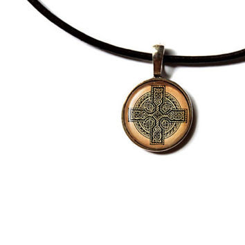 Celtic cross necklace Irish jewelry Pagan pendant NW290