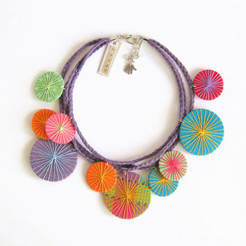 Colorful circles fabric necklace statement necklace fabric wrapped circles multicolor