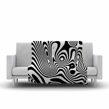 "Danny Ivan ""Trippy"" Black White Fleece Throw Blanket"