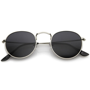 Classic Full Metal Frame Slim Temple Round Sunglasses 45mm