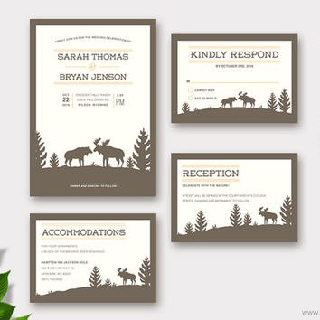 Moose Wedding Invitation Suite Printable, Woodland Wedding Invitations, Rustic Customizable Colors