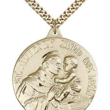 "Saint Anthony Medal For Men - Gold Filled Necklace On 24"" Chain - 30 Day Mone... 617759800722"