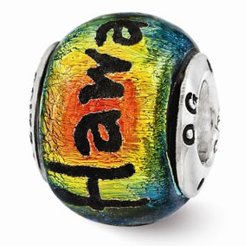 Sterling Silver Hawaii Orange Dichroic Glass Bead