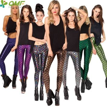 Mermaid Sports Running Tights Candy Color Fish Scale Printed Fitness Gym Workout Yoga Leggings Womens Slim Fit Sexy Pencil Pants