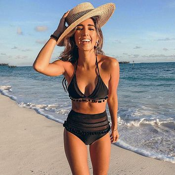 Mesh Hollow High Waist Out String Female Swimsuit