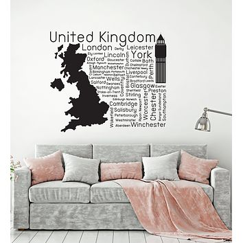 Vinyl Wall Decal United Kingdom UK Cities Great Britain Decor Stickers Mural (ig6144)