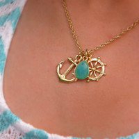 Anchors Away Necklace - Mint