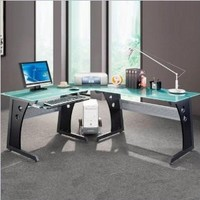 Deluxe Tempered Frosted Glass L Shaped Corner Desk With Pull Out Keybaord Panel. Color: Graphite