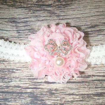 Beautiful Pink and White Butterfly and Pearl Baby Girl Headband
