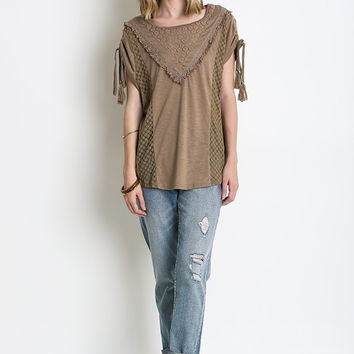 Western Shoulder Tie Top With Lace Detail