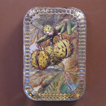 Autumn Chestnut Flower Fairy Heirloom Rectangle Glass Paperweight Cicely Mary Barker Home Decor