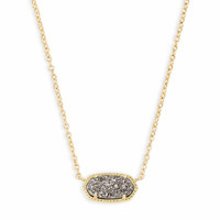 Elisa Gold Pendant Necklace in Platinum Drusy | Kendra Scott
