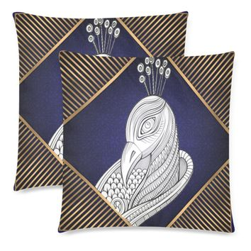 """Blue Peacock Throw Pillow Covers 18""""x 18"""" (Set of 2)"""