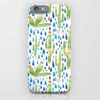 Watercolor Cactus with Raindrops iPhone & iPod Case by Natalievmason | Society6