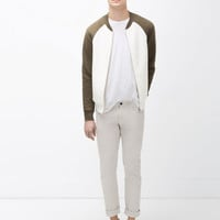 TWO-TONE QUILTED BOMBER JACKET