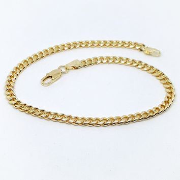 """1-0118-h1 Gold Plated Cuban Link anklet. 10"""""""