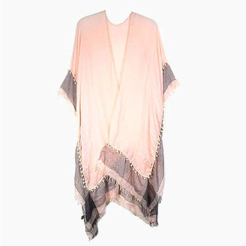 Pink Two Tone Cover Up with Mini Pom Pom Trim