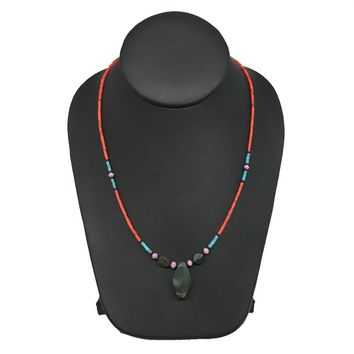 1 Necklace, Nephrite Jade & Red Coral Inlay Beaded Necklace Afghanistan, NPH115