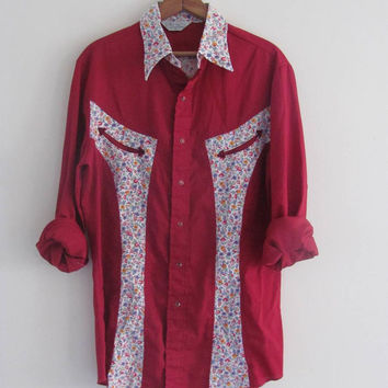 STOREWIDE SALE... Vintage 80's cowboy western pearl snap up shirt // red floral patchwork shirt // size M