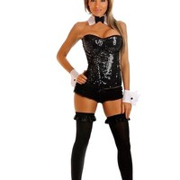 Black 4 PC Sequin Pin Up Bunny Costume @ Amiclubwear costume Online Store,sexy costume,women's costume,christmas costumes,adult christmas costumes,santa claus costumes,fancy dress costumes,halloween costumes,halloween costume ideas,pirate costume,dance