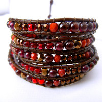 Beaded Leather Wrap Bracelet 4 or 5 Wrap with Bronze Nuggets Garnet Gemstone and Red Czech Glass Beads on Genuine Brown Leather