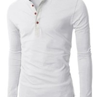 H2H Mens Henley T-shirts with Long Sleeve WHITE (US-M)