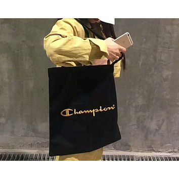 Champion Stylish New Shopping Bag Logo Embroidery Canvas Handbag Tote Satchel Shoulder Bag Black I-Great Me Store