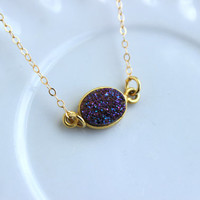 Gold Purple Druzy Necklace Natural Druzy Jewelry - Purple Drusy Necklace Jewelry Druzy Christmas Gift Under 20 Necklace Statement Jewelry