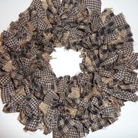 Small Rag Wreath Black Tan Check Homespun Fabric Burlap Fall