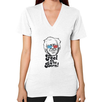 Bernie Sanders Pop Art Portrait  V-Neck (on woman)