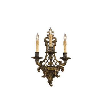 Metropolitan Lighting N9813-3 Oxide Brass Three-Light Wall Sconce with Tan Drip Candle Sleeves Shade