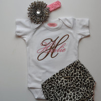 Baby Girl Clothes Monogram Onesuit Personalized Onesuit Cheetah  Flower Headband Cheetah Bloomers  Baby Gift Set