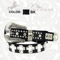 Montana West Black Cross Rhinestone Belt