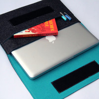 "13"" inch Apple Macbook Pro laptop Organizer Case Cover - Dark Gray & Turquoise - Weird.Old.Snail"