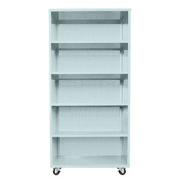"Perforated Active Duty Bookcase w/ Casters 5 Shelf - 75""Hx36""Wx18""D /"