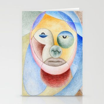 face with circles Stationery Cards by Josep Mestres