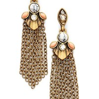 Women's Anne Klein Tassel Drop Earrings - Brass Ox/ Coral Multi