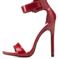 Red Single Sole Ankle Strap Heels by Charlotte Russe