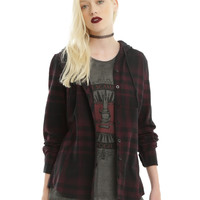 Burgundy & Black Plaid Hooded Girls Woven