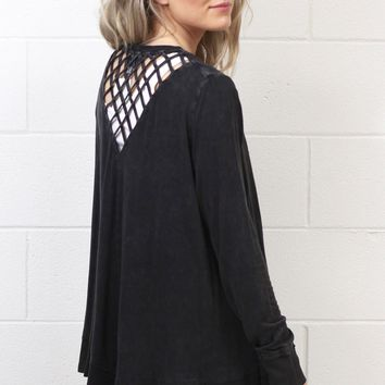 Lattice Back Mineral Wash Cardigan {Charcoal}