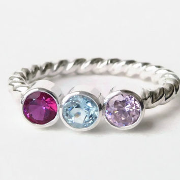 Triple Birthstone Ring - Gemstone Ring - Mothers Ring - Birthstone Ring - Sterling Silver