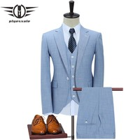 Slim Fit Men Suits For Wedding One Button Dark Blue Light Blue Men Formal Suits Spring Autumn 3 Piece Suit