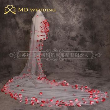 Elegant Bridal Veil White/Ivory Appliqued Cathedral 3m Long Wedding Veil With Comb Lace Mantilla Wedding Accessories MD3038
