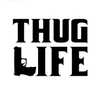 15.2CM*11.6CM Thug Life Sticker Tupac Gangster Funny Hater Shakur Car Gun Decals Car Sticker And Styling Black Sliver C8-1052