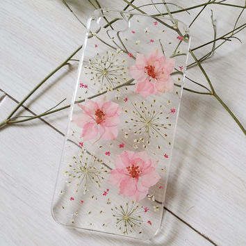 Handmade Real  Natural Pressed Flowers iphone 6 6 plus case iphone 4s 5 5s 5c case cover new design fashion cellphone girl lady pink