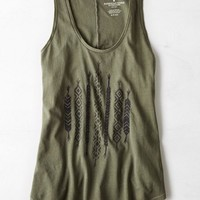 AEO Women's Graphic Muscle Tank (Dusty Olive)