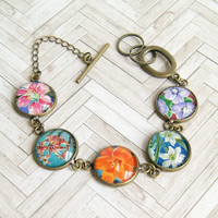 Victoria floral postage stamp cabochon charm bracelet, antique brass, upcycled, recycled, eco friendly, colorful, floral