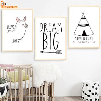 Alpaca Tent Adventure Big Dream Canvas Painting Nordic Poster Wall Art Print Wall Picture Kids Room Decor