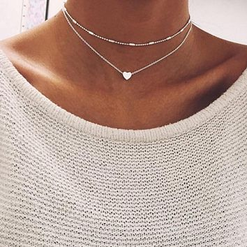 New double horn pendant love phase heart choker necklace Gold silver dot luna necklaces&pendants women jewelry collar collier