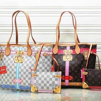 LV Louis Vuitton Print female trendy shoulder bag two sets White Check